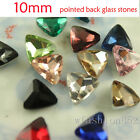 30pcs 10mm faceted pointed back triangle foiled crystal rhinestones beads Jewels