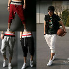 NEW Mens 3/4 knee Jogger Sport Shorts Loose Casual Gym Harem Pants Rope Trousers