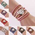 Women  Bracelet  Watches Leather Strap Braided winding RivetWatches Wristwatch