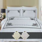 Luxury Athena 100% Combed Cotton Embroidered Duvet Cover Set with Pillow Shams image