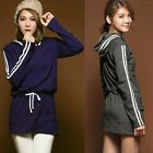 Women Casual Striped Pullover Long Sleeve Drawstring Hooded Dress Mini Fashion