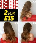 BROWN OMBRE AUBURN Long Curly Wavy Flick Straight Half Wig Hair Piece