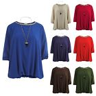 Ladies Womens Italian Chiffon Gold Trim Chiffon Black Tooth Necklace Baggy Top