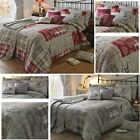 Highland Stag Duvet Cover Patchwork Tartan Check Deer Quilt Set