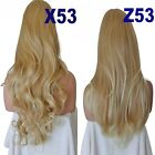 STRAWBERRY TIPPED BLONDE Long Curly Layered Half Wig Hair Piece Ladies #27BT613