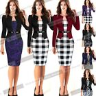 Elegant Women Tartan Tunic Formal Work Party Cocktail Bodycon Pencil Dress NB237