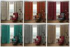 Check Stripe Ring Top Thermal Heavy Curtain Pair Eyelet Ready made Curtains