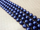 100% Real Blue AAA+++ Sea Shell Pearl Loose Beads 15''