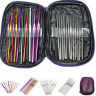 22PCS Multi-color Aluminum Crochet Weave Hooks Knitting Needles Craft Yarn Case