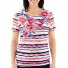 Alfred Dunner women's top bon voyage short sleeve striped polyester size XL NEW