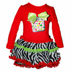 BNWT Rare Editions Girls Red Holiday GIFT BOX Applique Dress/Legging~2T TO 6T