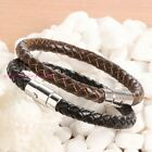 New 6mm 316L Stainless Steel Black/Brown Synthesis Leather Women/Men's Bracelet