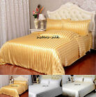 19Momme 100% Pure Silk Duvet Doona Cover Fitted Flat Sheet Set Queen Size Stripe