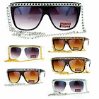 SA106 Metal Chain Flat Top Celebrity Diva Sunglasses