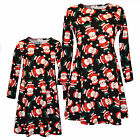 Ladies Xmas Dress Mother & Daughter Girls Christmas Santa Print Dresses Black