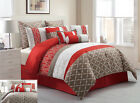 14 Piece Queen Amarta Coral and Taupe Reversible Bed in a Bag w/600TC Sheet Set