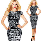 Women Letters Printing Evening Party Sheath Wiggle Pencil Summer New Dress B227