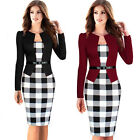 Long sleeve Plaids Checkes Women Wiggle Pencil Casual work Bodycon Dress B237