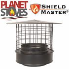 Black Shieldmaster Rain Cap With Mesh For Twin Wall Insulated Flue Pipe