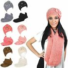 Ladies Chunky Knit Floral Warm Winter Knitted Hat Scarf Scarve Gift Set New