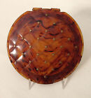 Large flap-jack styled tortoise colored lucite RHO-JAN compact w  metal studs !