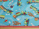 Runaway Trains on blue 100% cotton print fabric   / 145cm wide / childrens