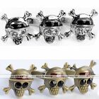 Vintage Three Pirate Skull Crystal Double Finger Ring Charm Cocktail Party Gift