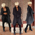 Fashion Loose Fit Womens Ladies Long Wool Coat Belted Trench Coat Jacket Parkas
