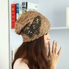 Fashion Butterfly Women Ladies Lace Sequins Baggy Slouch Beanie Hats Caps