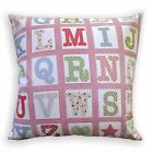 LL411a Red White Pink Lt.Blue Green English Words Cotton Canvas Cushion Cover