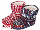 Mens Coolers Faux Sheepskin Fur Lined Fairisle Fair Isle Knitted Slipper Boots