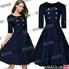 Womens Classic Vintage 3/4 Sleeve Belted Retro Evening Party Swing Shirt Dresses