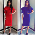 New Womens Ruffled Frill Shoulder Bodycon Cocktail Party MIDI Pencil Tunic Dress
