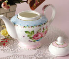 Blue Pink Rose Porcelain Bone China Ceramic Teapot Coffee Pot