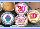 24 PERSONALISED 30th BIRTHDAY DESIGN 2 CUPCAKE TOPPER RICE, WAFER or ICING