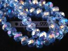 3~14mm Light Blue AB Faceted Rondelle Crystal Glass Loose Spacer Beads Wholesale
