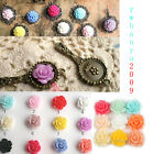 Free Shipping 36pcs Resin Rose Flower Flat Back Cabochons 13x6mm Choose Colors