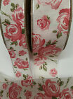 Pink Rose Wired Ribbon Vintage Trim Sizes 25mm & 40mm LCR