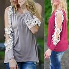 New Women's Floral Lace Long Sleeve Tops Pullover Blouse Long Sleeve T-Shirt Hot