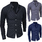 New Classic Fashion Mens Lattice Casual Slim Fit Shirt Long Sleeve Dress Shirt