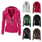 Women Zipper Tops Hoodie Sweatshirt Coat Jacket Slim Long Sleeve Outwear S-XL