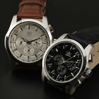 Stainless Steel Sewor Punk Classic!Mens Mechanical Watch Genuine Leather Band s2