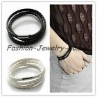 New Fashion Womens Mens Black Leather Interlaced Cuff Bangle Wristband Bracelet