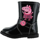 Girls Size 5 - 10 Patent Black Pink PEPPA PIG BOOTS NEW Zip Childrens