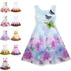 Party Flower Girls Dress Rose Print Butterfly Embroidery Purple Size 4-12