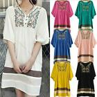 NEW Fashion Women Embroidered Maternity Loose Dress Pregnant Short Sleeve Dress