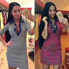 Womens V Neck Check Long Sleeve Bodycon Pencil Cocktail Party Mini Tunic dress