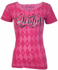 Sinful AFFLICTION Womens T-Shirt ARGYLE Skull PINK Tattoo Biker UFC $38