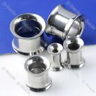 2/10 pcs Stainless Steel Screwed Hollow Double Flared Ear Tunnel Expander 4-12mm