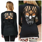 WDS Hollow Skull Pattern T-Shirt For Women Blouse Stylish Long Sleeve Top Black